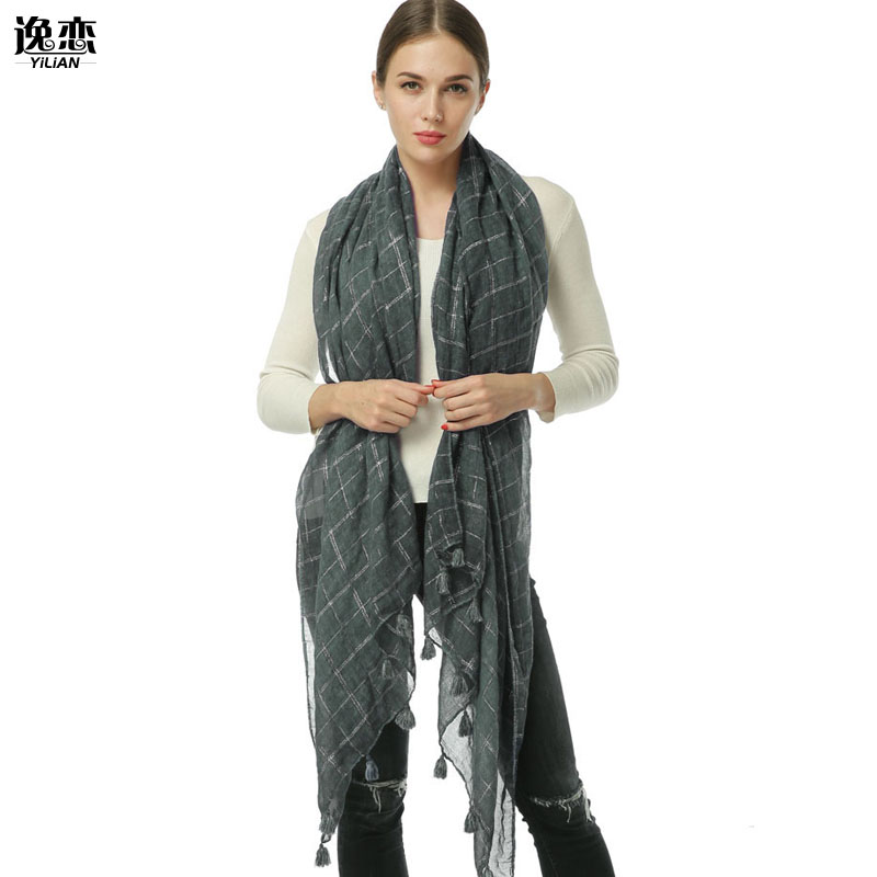 YILIAN Brand Plaid Fashion Designer Women Scarf with Filamentary silver Winter Long Oversized Top Tassel Shawl Pashmina SF973
