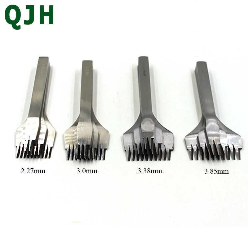 2.7/3.0/3.38/3.85mm yassı paslanmaz çelik deri keski iğneleme demir deri araçları zanaat delik yumruk kiti DIY aracı 2/5/10 çatal