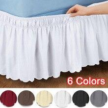 Nueva falda de cama liso elástico, suministros de decoraciones para dormitorio de Hotel en casa, 6 colores S/M/L/XL