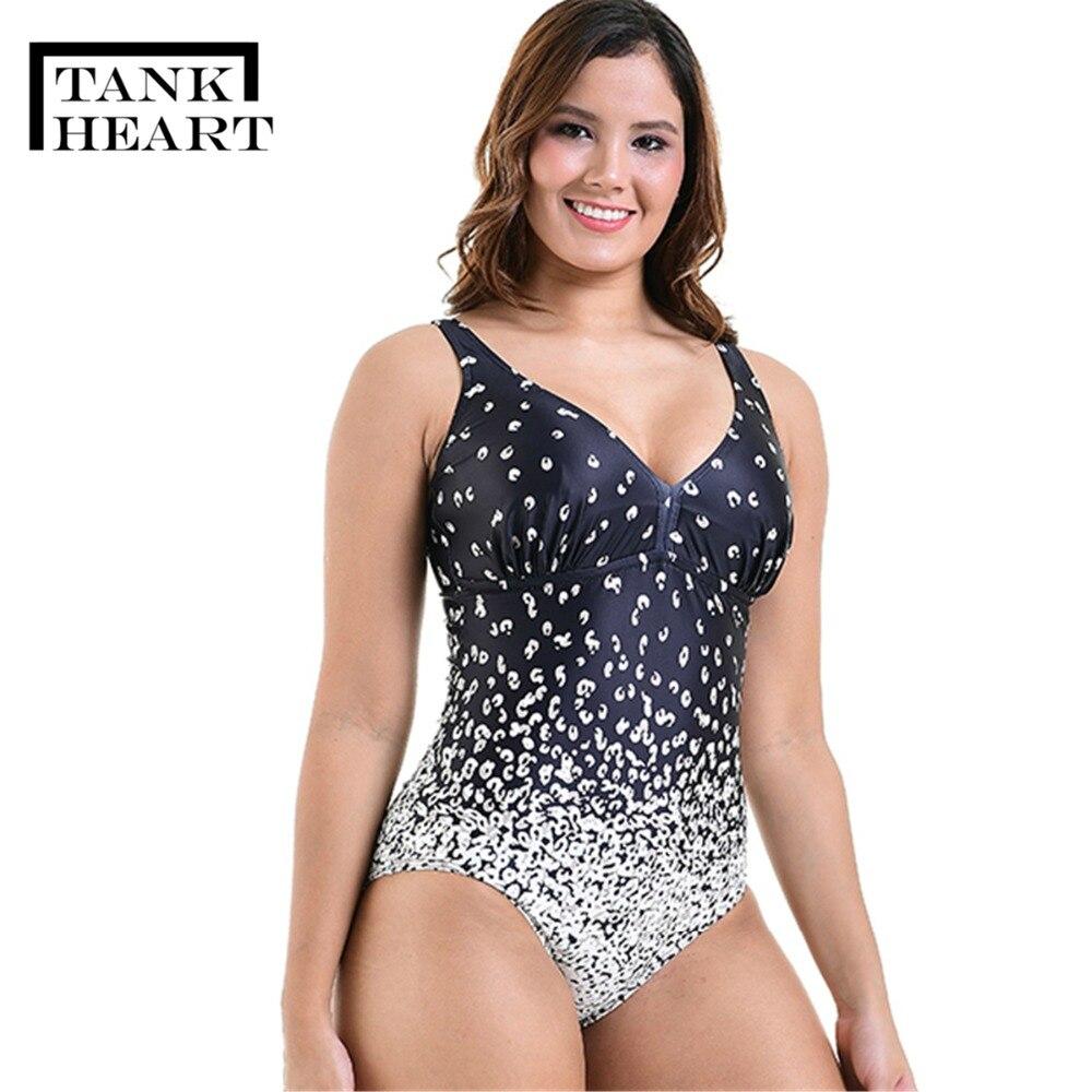 2643dcddd71c0 Tank Heart Gradient Ramp Print Sexy Sport Plus Size Swimwear Large Sizes  One Piece Swimsuit Women Bathing Suits monokini XXL-6XL