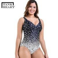 Tank Heart Gradient Ramp Print Sexy Sport Plus Size Swimwear Large Sizes One Piece Swimsuit Women Bathing Suits monokini XXL 6XL