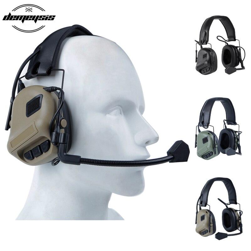fones de ouvido tatico padrao militar tiro earmuff uso com ptt walkie talkie radio airsoft tatico