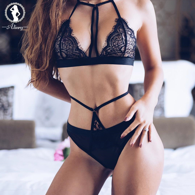 609e21b3682 ALINRY 2017 sexy bra set black lace push up seamless bralette lingerie  bandage plus size transparent women underwear intimates