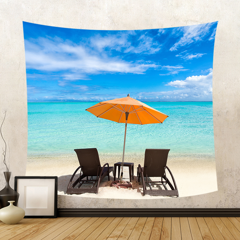 Beautiful Seaside View Beach Chair Wall Hanging Tapestry Umbrella Lounger Beach Towel Pretty Sky Blue Sea Yoga Mat Decorate Home