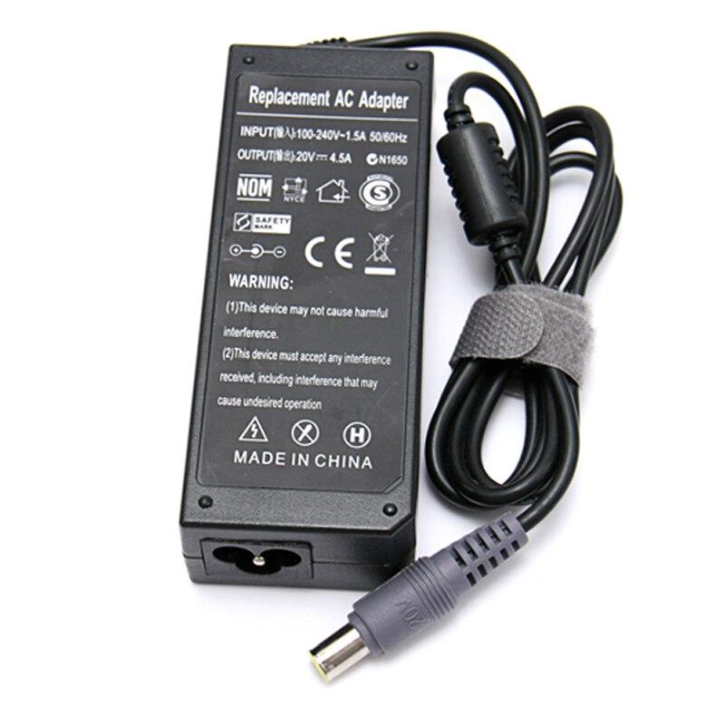 Frete grátis! 20 v 4.5a 8mm * 5.5mm ac power portátil adaptador carregador para lenovo ibm thinkpad r61 r61e t60 t61 x61 sl400 x200 t410