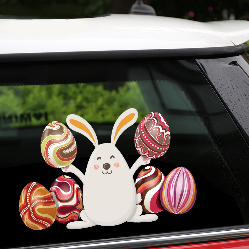 New removable reusable stickers for car happy easter bunny and six colored eggs home car stickers and decals car styling body window door stickers