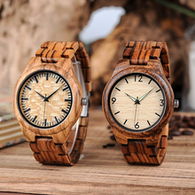 BOBO BIRD Mens Zebrawood Wooden Watches with Wood Strap Quar