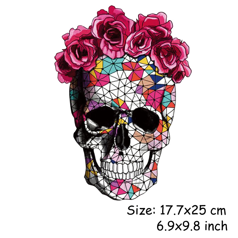 Skull Flower Iron On Patches For Clothing Summer Fabric Badge Stickers Clothes Jeans Washable Decoration Heat Skull Flower Iron On Patches For Clothing Summer Fabric Badge Stickers Clothes Jeans Washable Decoration Heat Transfer Parches