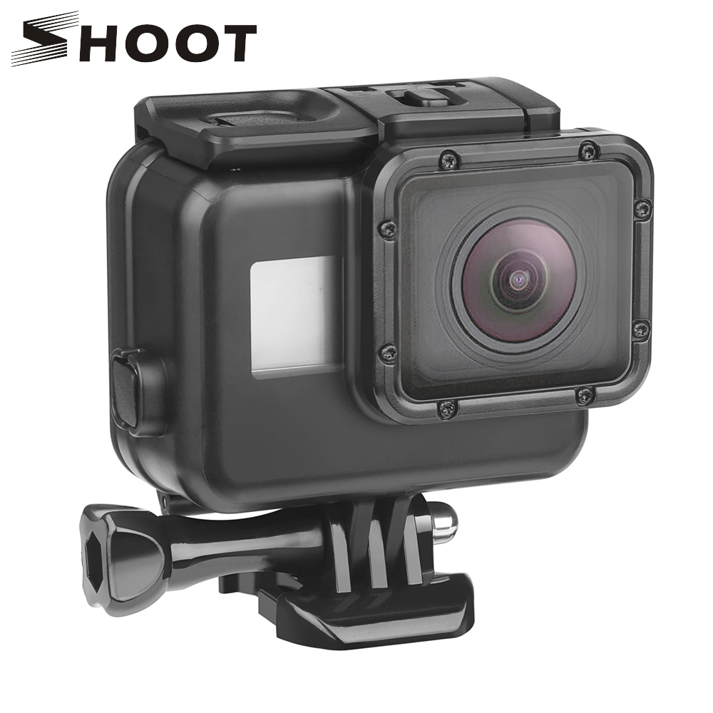 SHOOT 45m Underwater Waterproof Case for Gopro Hero 7 6 5 Black 3+ 4 Action Camera Go Pro 5 Protective Case for GoPro Accessory lanbeika for gopro hero 6 5 touchbackdoor diving waterproof housing case 45m for gopro hero 6 5 go pro5 gopro6 gopro hero6