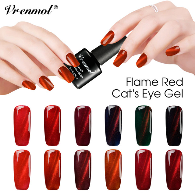 Vrenmol 12 Farbe Rot Farbe Serie Cat Eye Nagelgelpoliermittel 3d