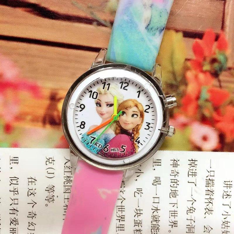 Flash Aisha Cartoon Children's Watch Girl Printed Silica Gel Band Light Quartz Watch