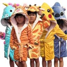 Новинка; зимний теплый детский банный халат с рисунком животных; полотенце с единорогом; Милые банные халаты для детей; фланелевые пижамы; халаты для мальчиков и девочек