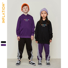 INFLATION 2019 Autumn New Kids Hoodies Printing Boys And Girls Hooded Black Color Adults Streetwear Clothing SW9635