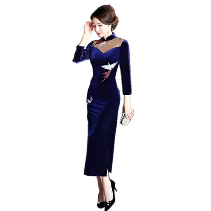 2018 nouveau bleu marine velours Qipao robe Style chinois femmes Mandarin col Long Cheongsam robes de grande taille M L XL XXL XXXL 4XL