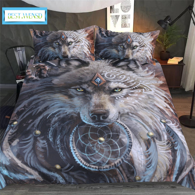 BEST.WENSD Polychromatic Feathery Wolf comforter Bedding zipper duvet cover sets  king size bedspread 2 dekbedovertre bedclothes