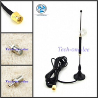 10 piece/lot 4G 10dbi LTE Antenna Aerial 698 960/1700 2700Mhz SMA Male RG174 3M Clear Sucker + Adapter SMA Female to CRC9 Male