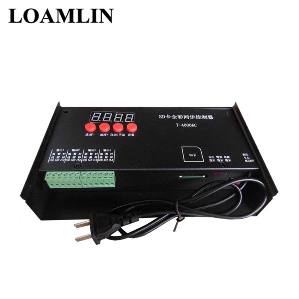 Contrôleur Programmable polychrome de sortie de la carte SD 4 Ports de LED de contrôle de rvb T-4000AC pour la lumière de bande de WS2812B WS2811 LED