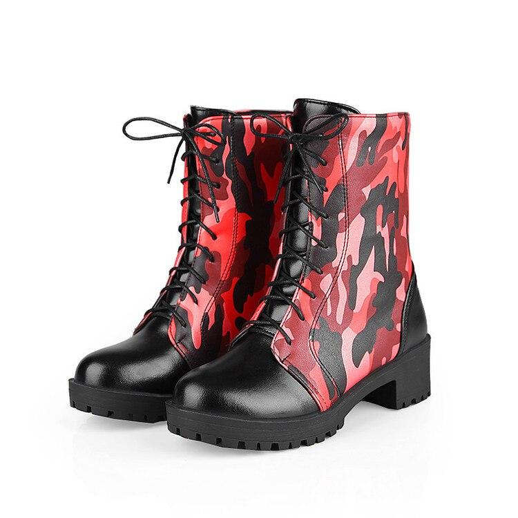 2016 New Big Size 34-43 Brand Design Patch Color Boots Thick Sole Platform Slim Winter Autumn Martens Boots shoes 1256