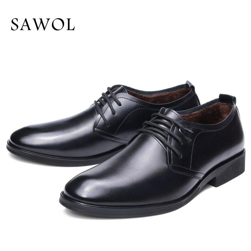 Men Formal Shoes Winter Men Dress Shoes Brand Men Leather Shoes Men Classic Business Gentleman Plush Plus Big Size 46 47 Sawol цена