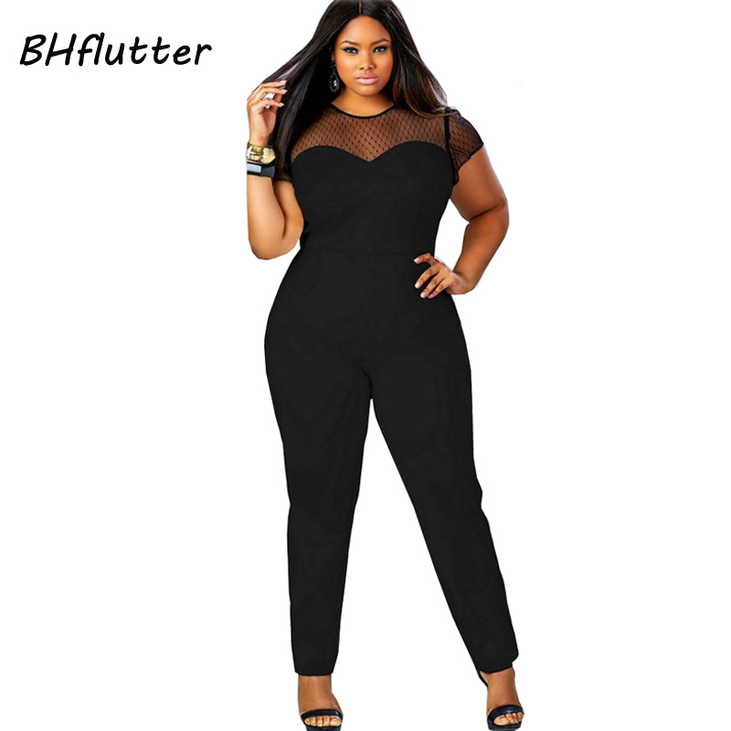 BHflutter 2017 Rompers 4XL Plus Size Clothing Women Short Sleeve Casual   Jumpsuits   Lace Patchwork Women's Sexy Vintage Overalls