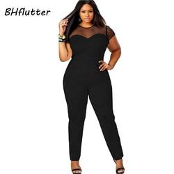 Bhflutter 2017 Strampler 4Xl Plus Größe Kleidung Frauen Kurzarm Casual Overalls Spitze Patchwork Frauen Sexy Vintage Overalls