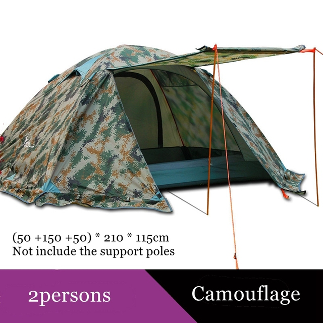 Flytop camping tent outdoor 2 people or 3perons double layer aluminum pole anti snow outdoor family tent with snow skirt 2