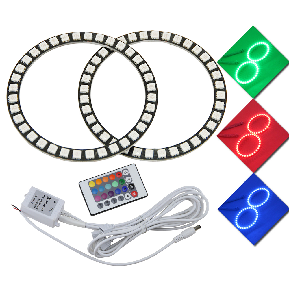 1 Pair IR Remote Control 40mm 50mm 66m 72mm 75mm 80mm 90mm 100mm 120mm LED colorful Halo Ring RGB Car Angel Eyes Light Headlight