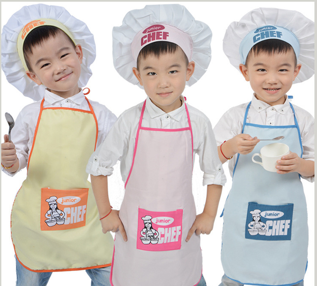 47aa4095261 Polyester Kids Apron and Chef Hat Child Cooking Baby Apron Junior Chef Cook  Apron Painting Apron Family Outings Supplies