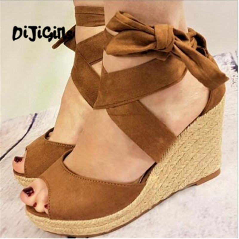 zapatos mujer woman wedge chaussure women sandals platform high heels pumps ladies summer peep toe cross-tied lace shoes women shoes pumps 2016 spring and summer new patent leather bow peep toe women sandals platform high heels shoes zapatos mujer