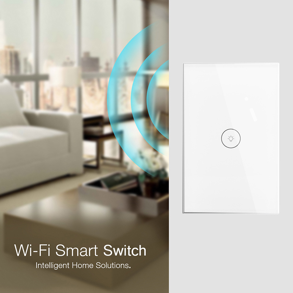 TUya App Control Smart Touch Remote light Switch US Standard 1 Gang 1 Way Wall Touch Light Switch Works with Alexa and Google in Switches from Lights Lighting