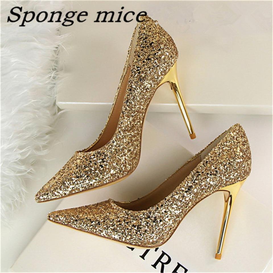 2017 New Pumps Glittering Fashion Y High Heel Summer Women Wedding Shoes Lady Pump Spool Heels Black White Gold Color