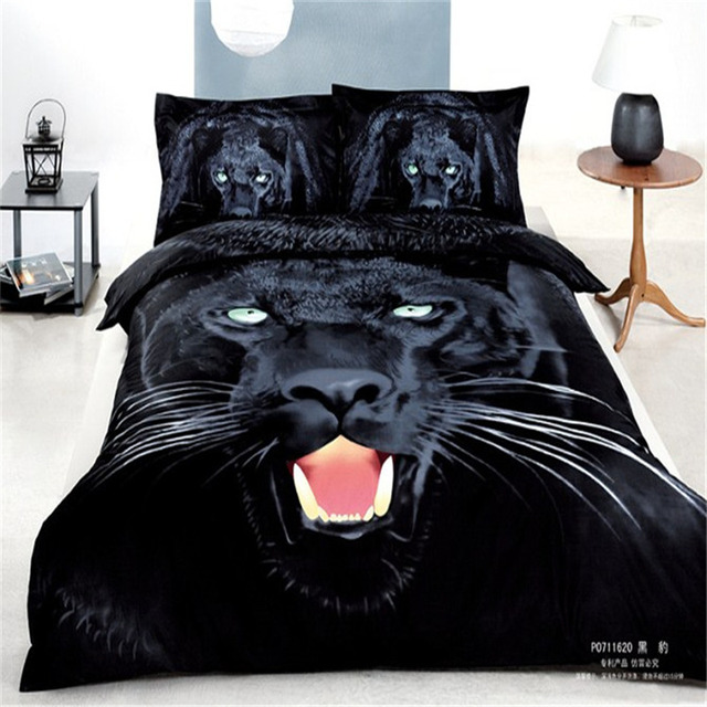 Schwarz Panther Tier 3d Gedruckt Tröster Bettwäsche Set Baumwolle Bettdecke  Voll Queen Kingsize Bettbezug