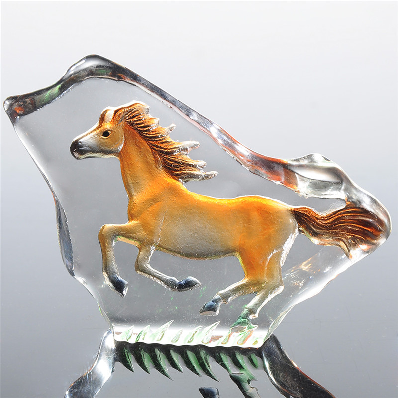 2.8inch Clear Glass Crystal Horse Figurines Paperweight
