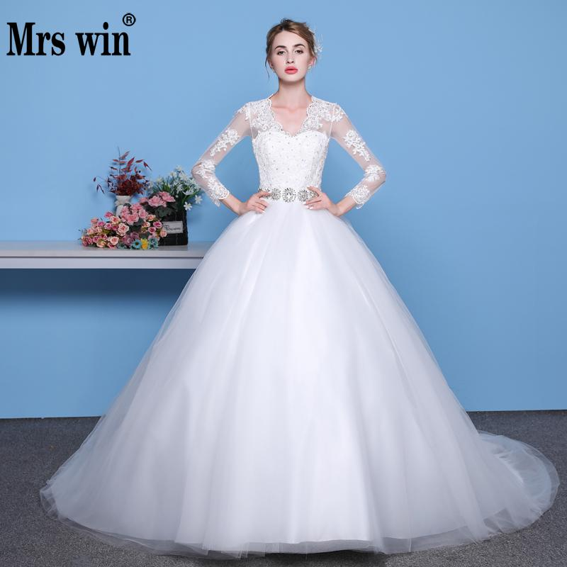 Long Sleeve V Neck Wedding Gown: Mrs Win Sexy Long Sleeve Wedding Dress V Neck Belt Diamond