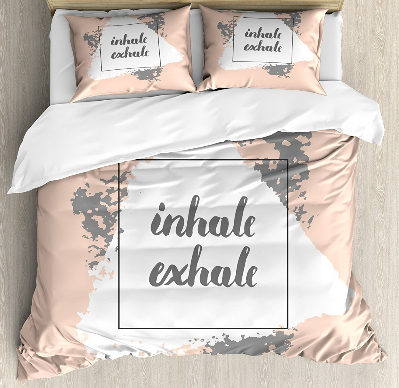 Inhaler Exhale housse de couette ensemble Grunge Paintbrush motivation Sports et Zen Message doux motif décoratif 4 pièces ensemble de literie