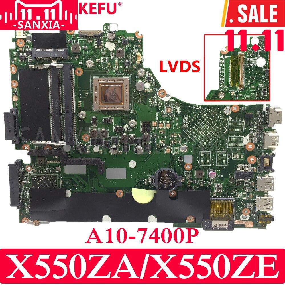 KEFU X550ZA Laptop motherboard for ASUS X550ZA X550ZE X550Z X550 K550Z X555Z VM590Z Test original mainboard A10-7400P LVDS x550ze motherboard a8 7200 lvds interface for asus vm590z x550ze k555z a555z x555z k550z laptop motherboard x550ze mainboard