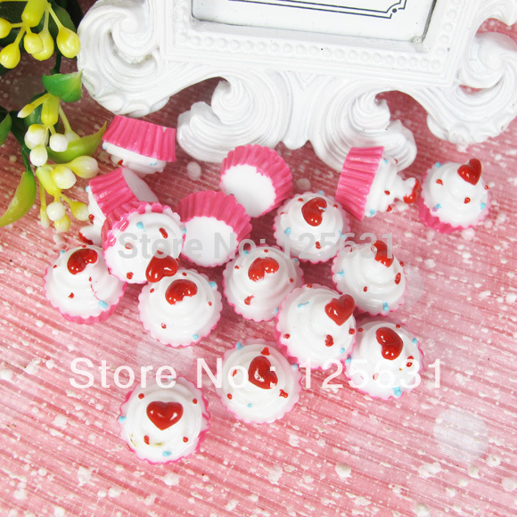 Kawaii Flatback DIY Artificial Sweet Cupcake Resin Cabochon Craft Scrapbooking Embellishment Crafts Making Size: 15*12mm