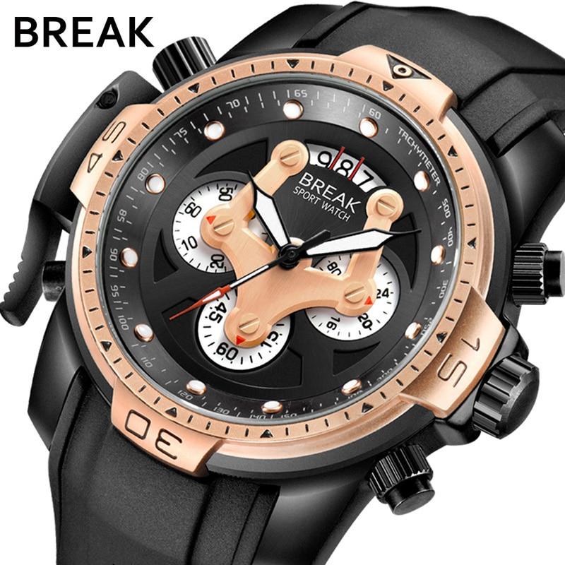 BREAK Men Top Luxury Brand Casual Fashion Silicone Strap Military Sport Wristwatches Man Waterproof Chronograph Quartz Watches