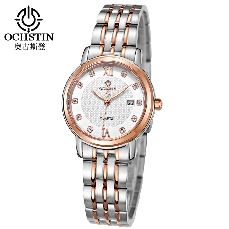 OCHSTIN Business Ladies Watch Women Link Bracelet Quartz Women Watch Rhinestone Female Clock Dress Date Hour Montre Femme Saat newly design dress ladies watches women leather analog clock women hour quartz wrist watch montre femme saat erkekler hot sale