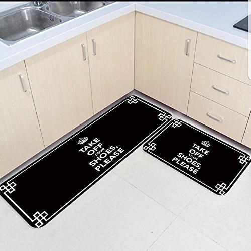 2 pièces tapis de cuisine et tapis ensemble mots drôles-enlever vos chaussures s'il vous plaît maison décorer antidérapant chambre salon paillassons