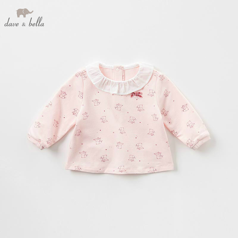 DBM8626 dave bella baby girls autumn infant baby fashion t-shirt toddler top children high quality tees lovely pink fox clothes db5884 dave bella autumn infant baby girls fashion t shirt kids 100% cotton lovely tops children high quality tee