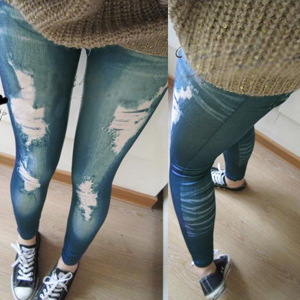 New Sexy Womens Ladies Vintage Jeans Distressed Legging Fake Hole Stretchy Girl Skinny Jeggings Blue Women Leggings Sport Winter