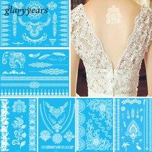 27 YHB Design 1 Piece White Henna Flower Lace Tattoo Beauty Women Hand Body Art Temporary Pendant Jewelry Tattoo Sticker Wedding