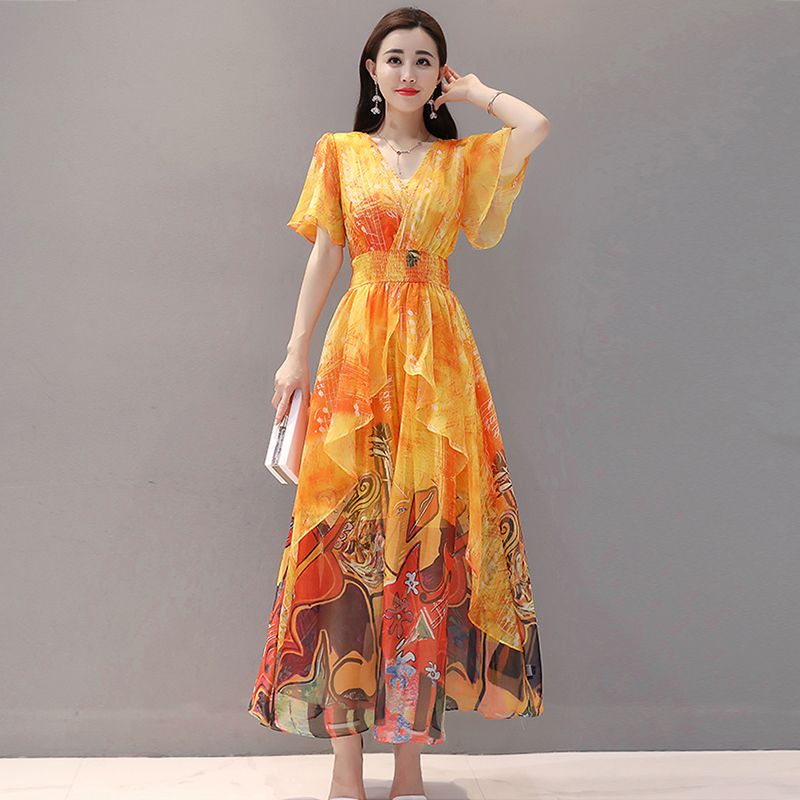 2019 women Summer dress Elegant Women Chiffon Print Bohemian Beach Dress Maxi Dress V-neck Casual Loose Plus size Dress Female 1