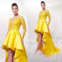 Gold/ Yellow Lace Sheer Long Sleeve High Low Evening Dresses