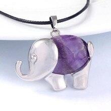 100-Unique Exclusive Design 1 Pcs Silver Plated Original Purple Amethysts Elephant Shape Pendant For Gift