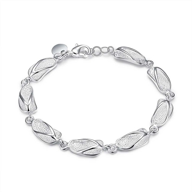 Link Friendship Silver Plated Bracelet New Designer Sliper Charms Jewelry Women Lady
