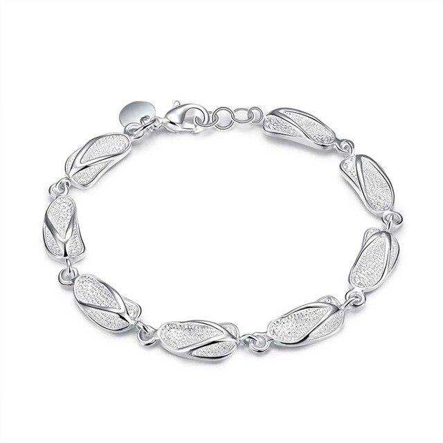 Link Friendship Silver Plated Bracelet New Designer Sliper Charms Jewelry Women Lady