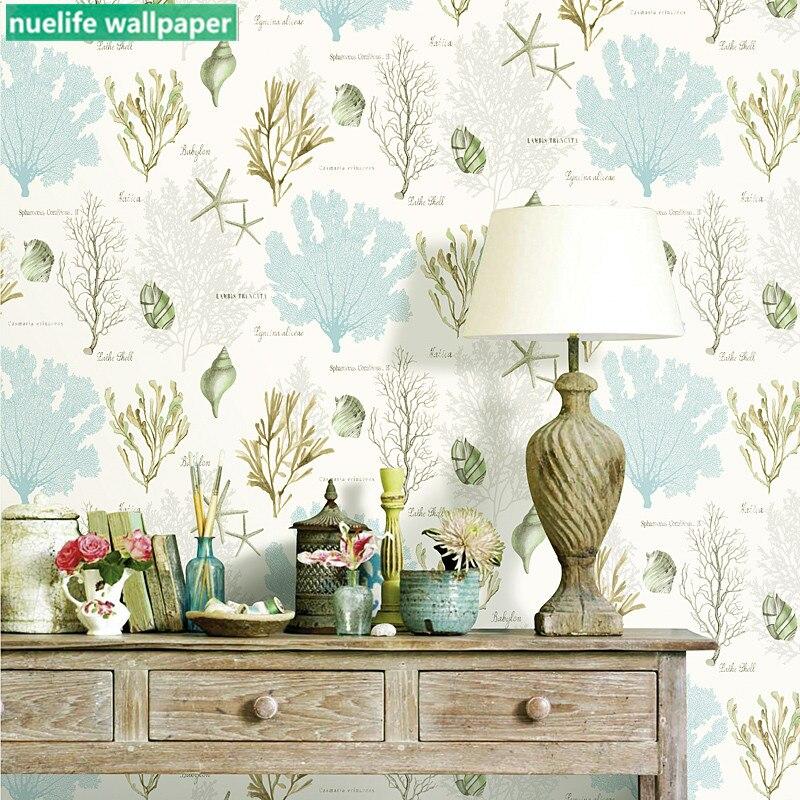 Style méditerranéen couleur algues corail motif non-tissé papier peint salle de mariage chambre salon TV fond d'écran