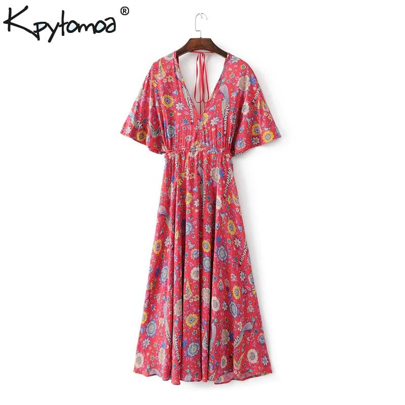 0aa7353296a Boho Vintage Bird Floral Print Maxi Dress Women 2019 New Fashion Bandage V  Neck Summer Beach